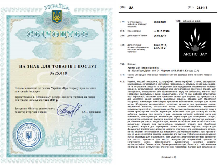 Патент на право собственности торговой марки Arctic Bay